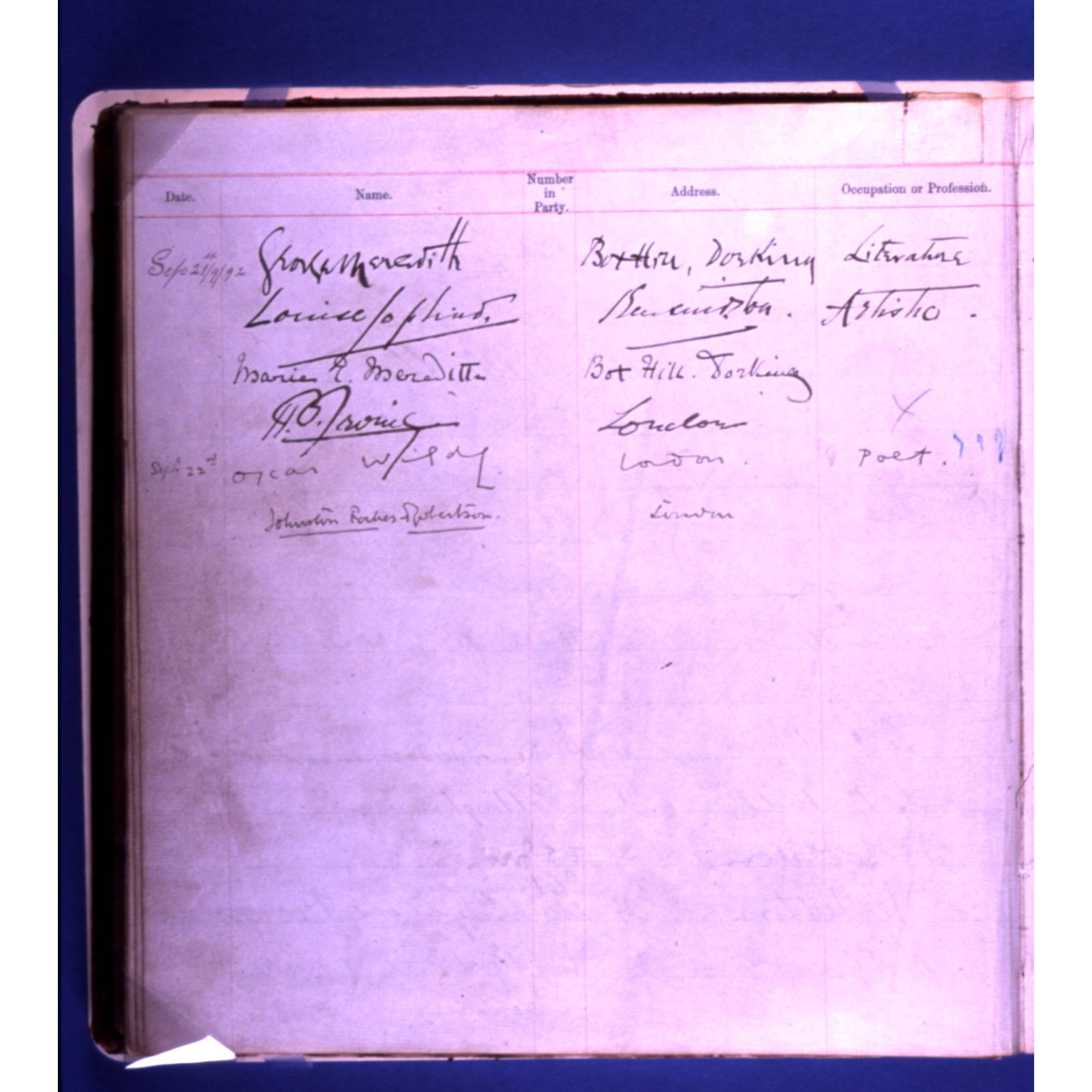 Factory Visitors Book, 1892